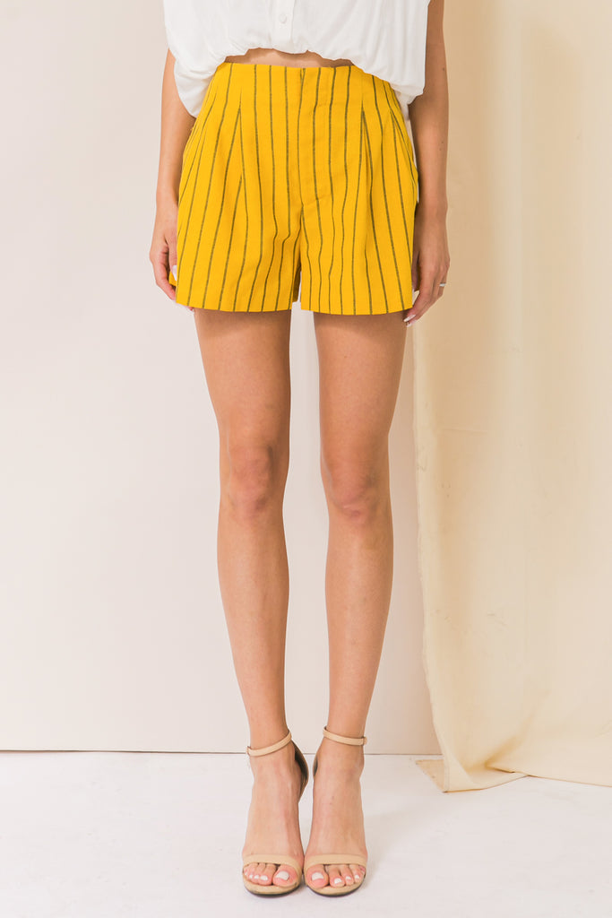 ONE MORE KISS STRIPED LINEN SHORT