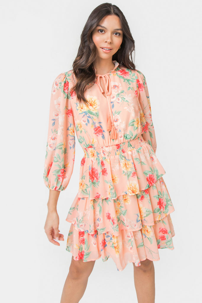 MELANNIE FLORAL PRINT MINI DRESS
