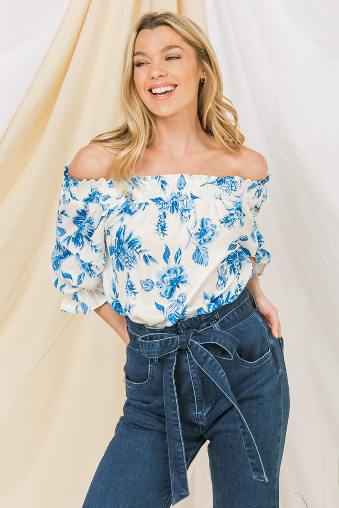 SMOCKED OFF-SHOULDER TOP