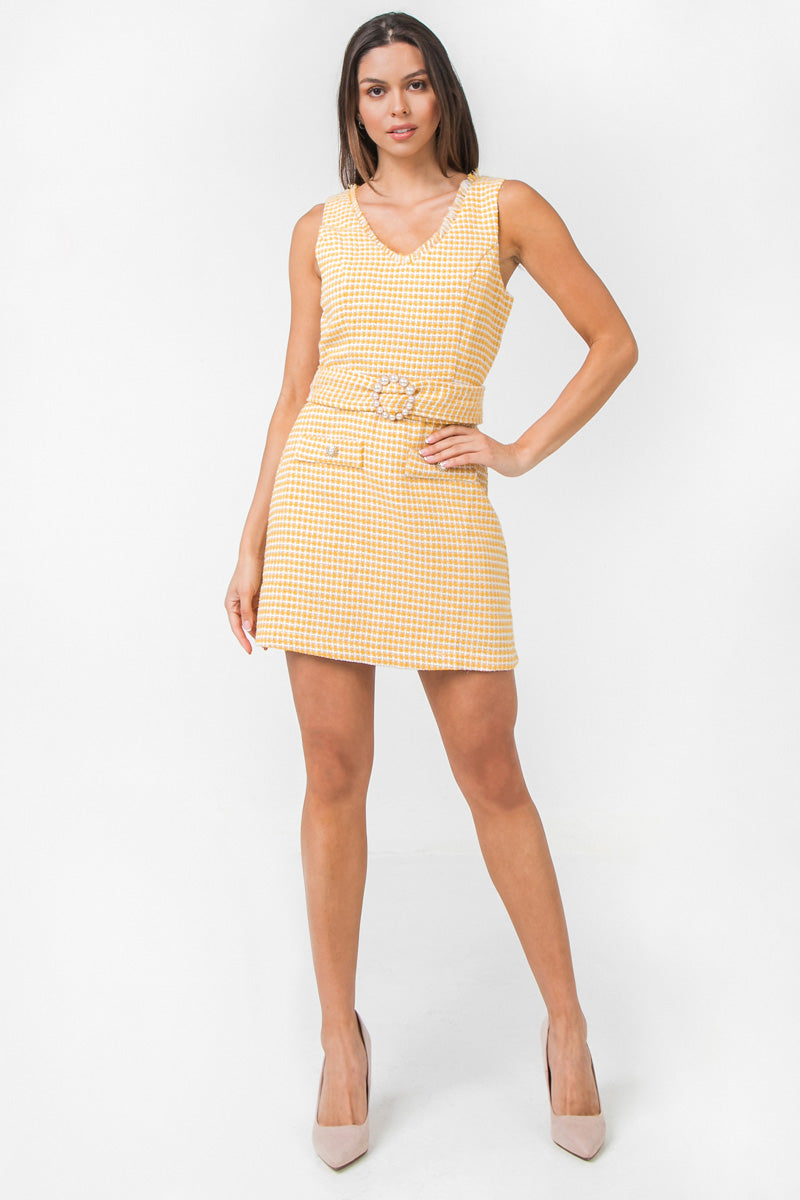 BOUCLE MINI SHIFT DRESS