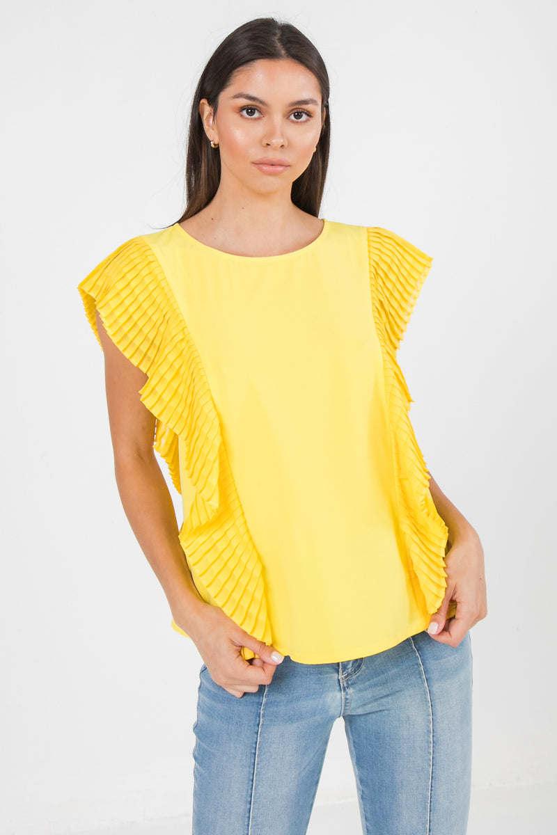 PLEATED ROUND NECK TOP