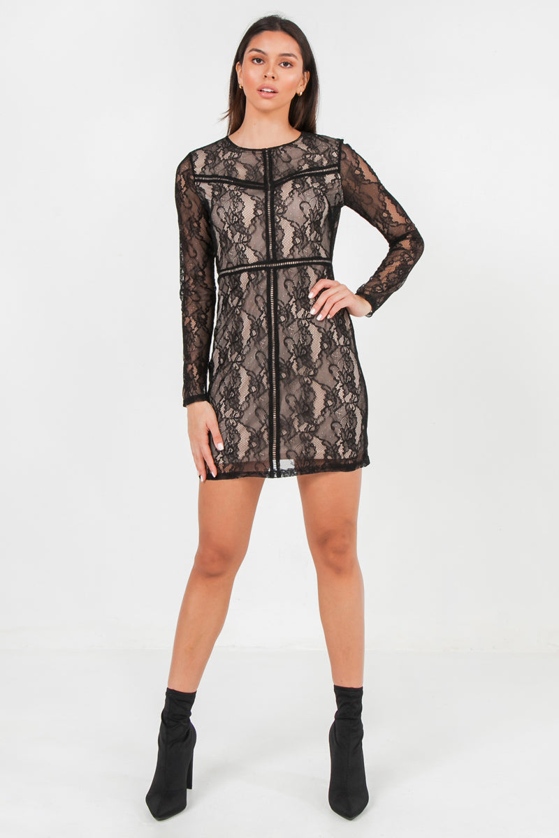 SEMI-SHEER MINI DRESS