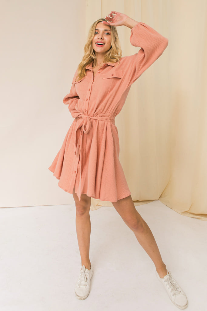 STOLEN HEARTS MINI SHIRT DRESS