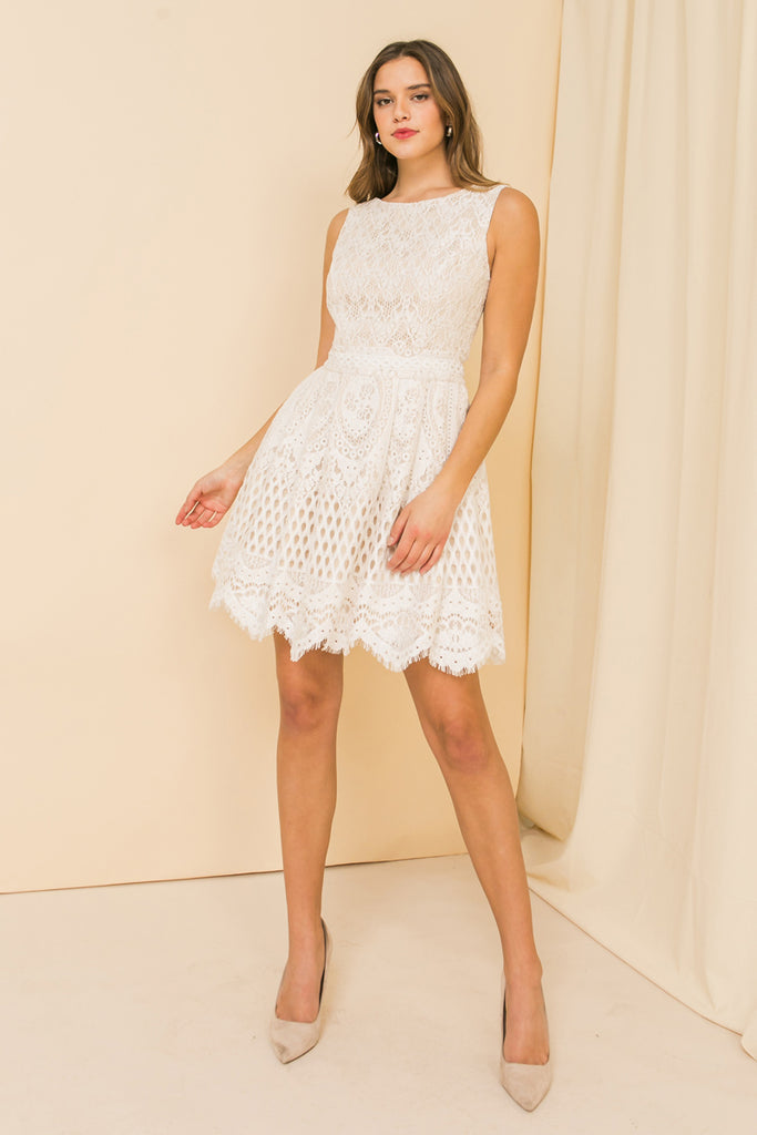 SWEET DISPOSITION VINTAGE IVORY MINI DRESS
