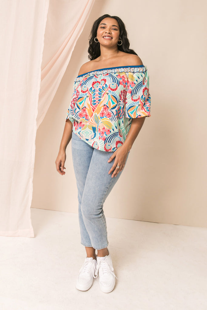 A FOREVER VACATION PRINT TOP