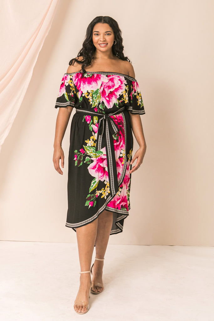 TIMELESS AND TRUE FLORAL MIDI DRESS