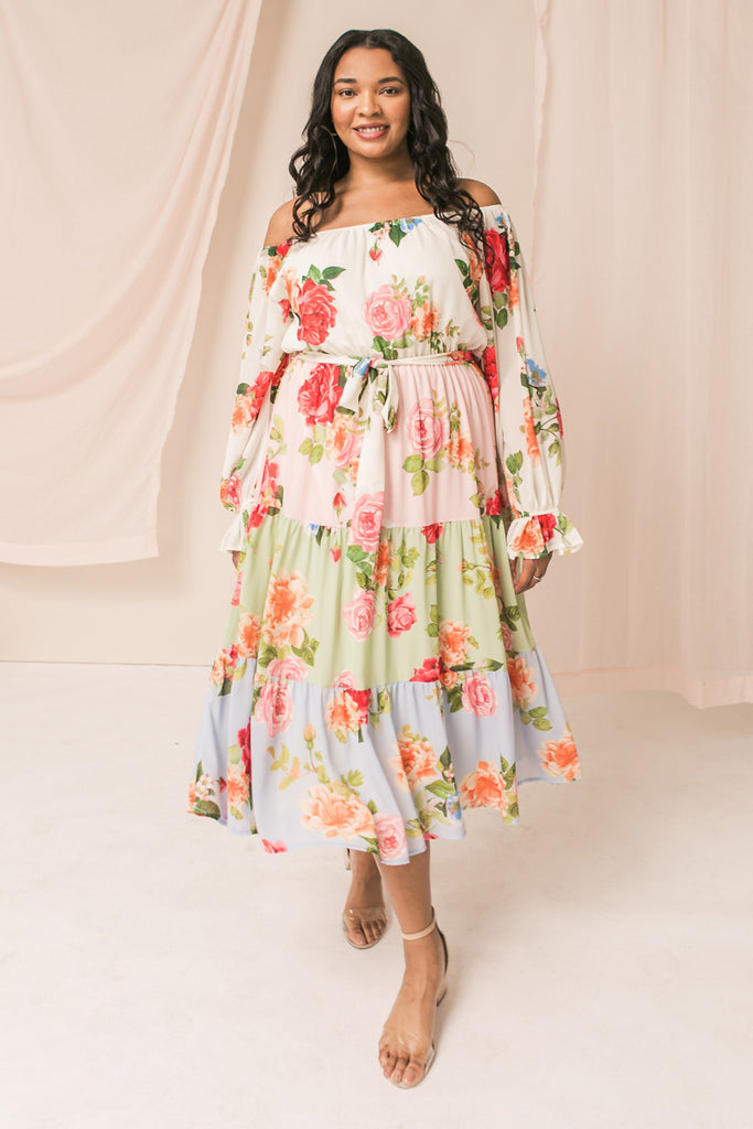 STYLISH AND CHIC FLORAL WOVEN MIDI DRESS