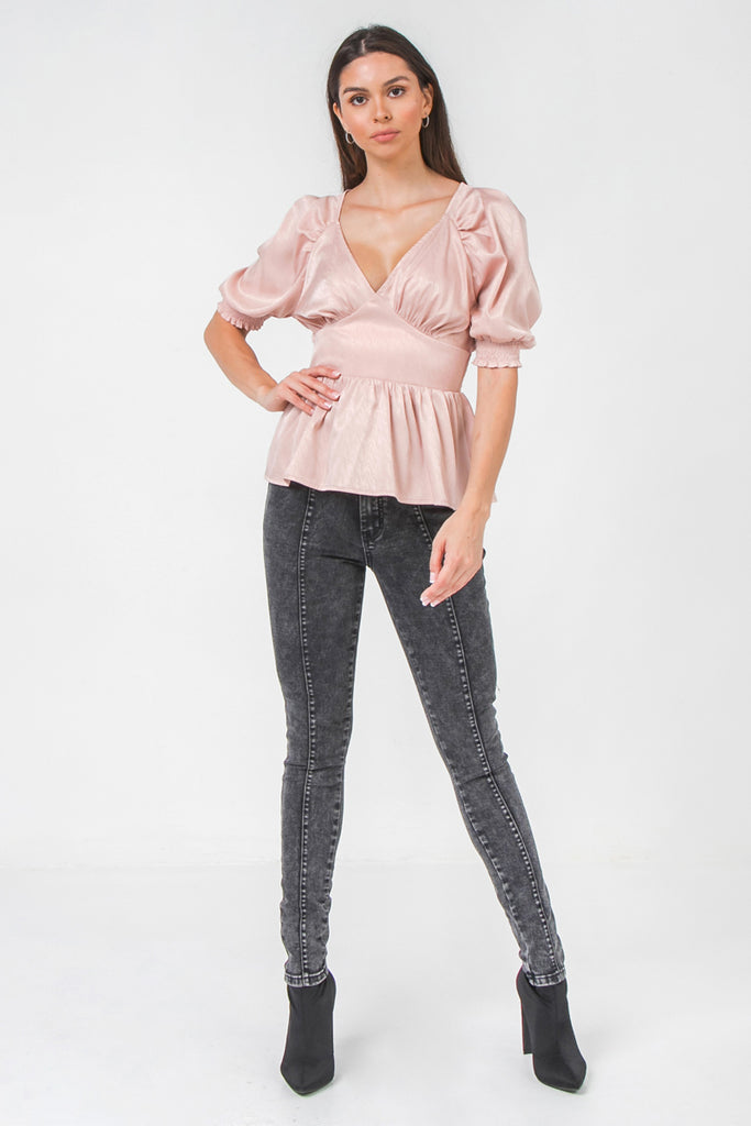 SOLID SATEEN TOP