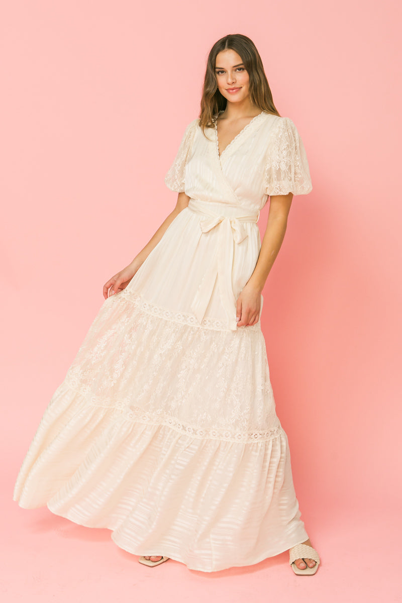YOU'LL AGREE VINTAGE IVORY MAXI DRESS