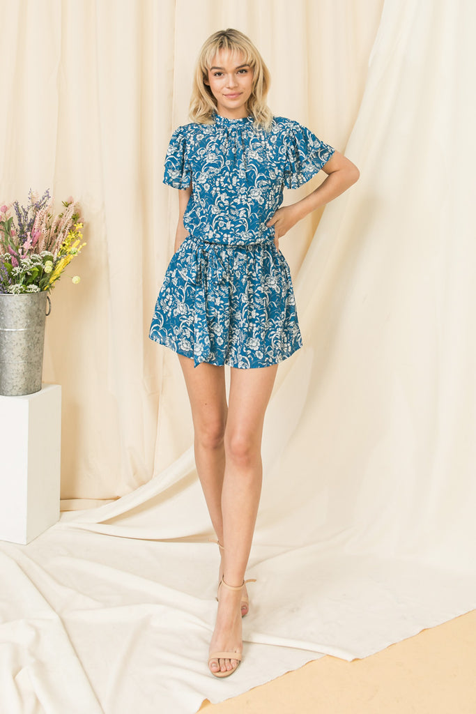 UNPREDICTABLE HEART BLUE ROMPER