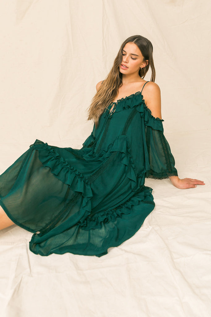 YOU'RE MINES STILL RUFFLED MIDI DRESS