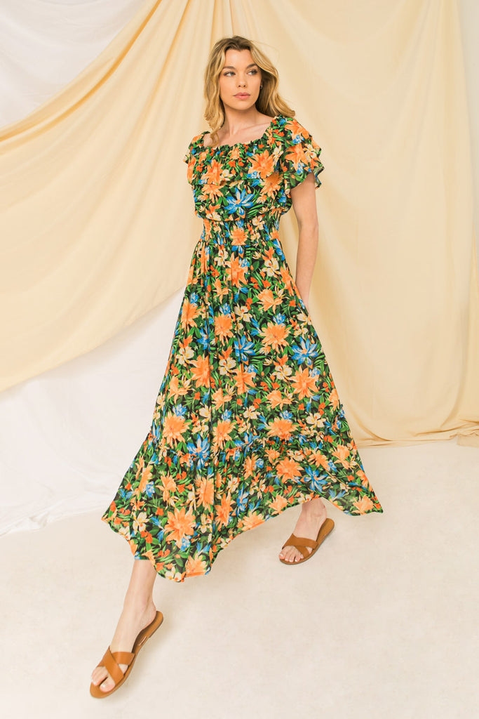 UNCOMPLICATED APPEAL FLORAL MAXI DRESS