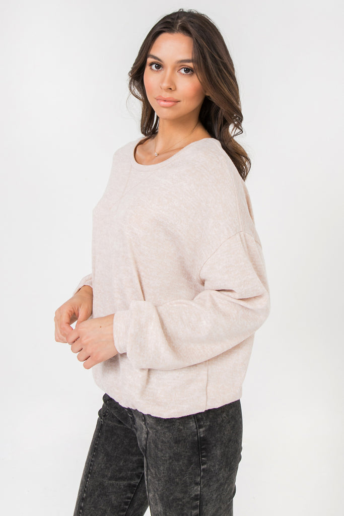 LONG SLEEVE SOLID KNIT TOP