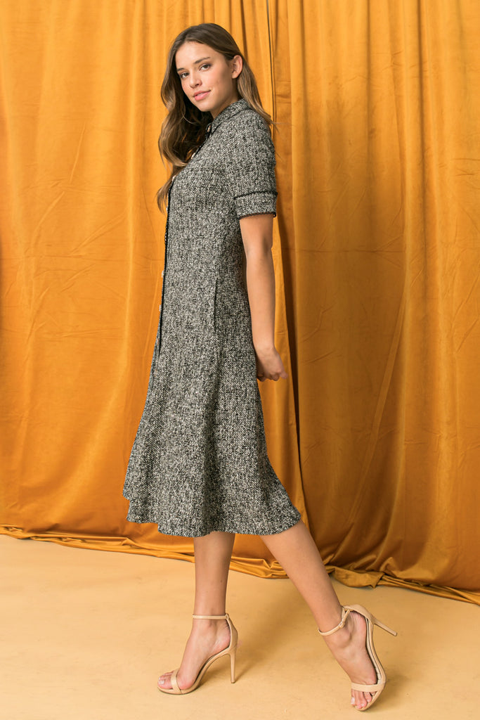 BOUCLE BUTTON DOWN SHIRT DRESS