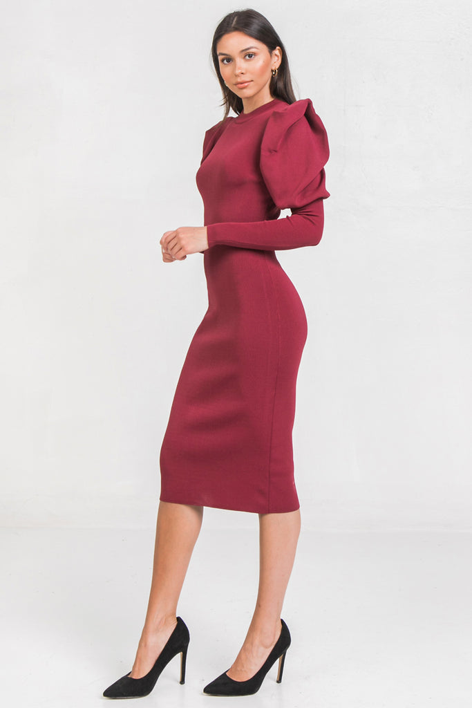 SOLID MIDI SWEATER DRESS