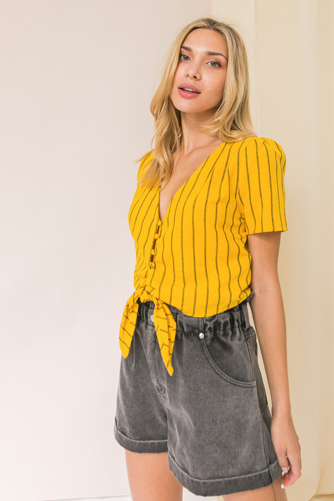 BELIEVE IN TIME STRIPED LINEN TOP