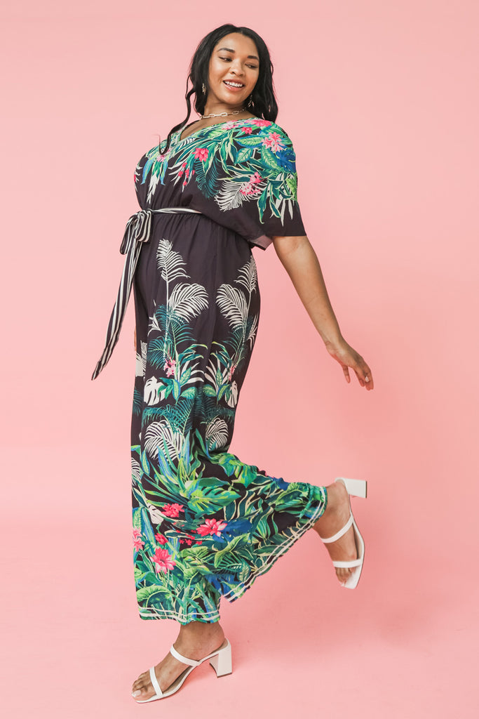 ON RECORD BLACK FLORAL PRINT JUMPSUIT