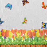 Butterfly & Flowering Shrubs - Wall Decals Stickers Appliques Home Decor