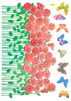 Rosebush & Butterflies - Large Wall Decals Stickers Appliques Home Decor