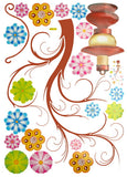 Flower Lamp - Large Wall Decals Stickers Appliques Home Decor