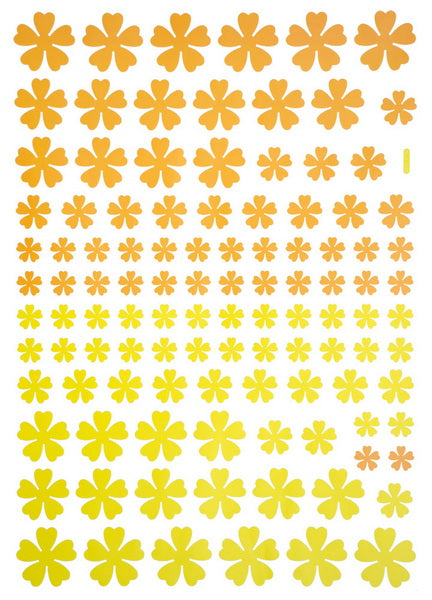 Yellow Floral Heart - Large Wall Decals Stickers Appliques Home Decor