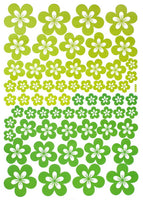 Green Blossoming Flowers - Large Wall Decals Stickers Appliques Home Decor