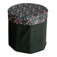 [bubble - Black] Round Foldable Storage Ottoman - Storage Boxes - Storage Seat