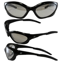 Birdz Crow Aerodynamic Sleek Padded Riding Glasses With Clear Mirrored Lenses