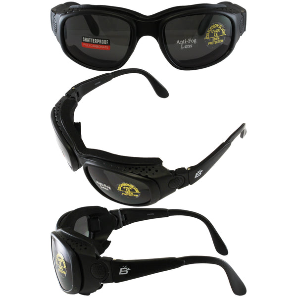 Birdz Falcon Padded Glasses Convert To Goggles And Three Lens Kit (clear, Smoke, Yellow)