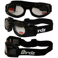 Birdz Kite Black Frame Motorcycle Goggles With Clear 1.0x Bifocal Shatterproof Anti-fog Polycarbonate Lenses And Vented Open Cell Foam