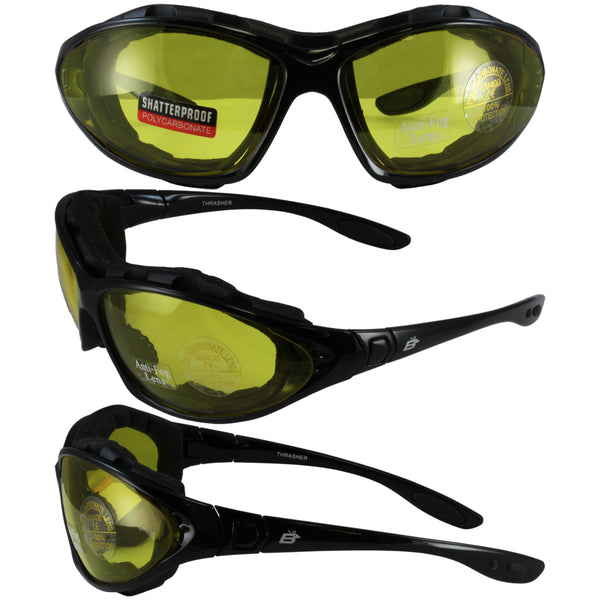 Birdz Thrasher Motorcycle Glasses-convert-to-goggles With Yellow Shatterproof Anti-fog Polycarbonate Lenses And Wind Blocking Foam