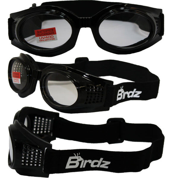 Birdz Kite Black Frame Motorcycle Goggles With Clear Bifocal Shatterproof Anti-fog Polycarbonate Lenses And Vented Open Cell Foam