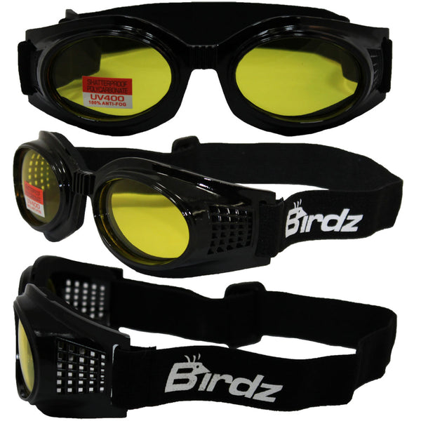 Birdz Kite Black Frame Motorcycle Goggles With Yellow Bifocal Shatterproof Anti-fog Polycarbonate Lenses And Vented Open Cell Foam