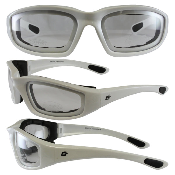 Birdz Oriole White Frame Motorcycle Glasses With Clear Shatterproof Anti-fog Polycarbonate Lenses And Wind Blocking Foam