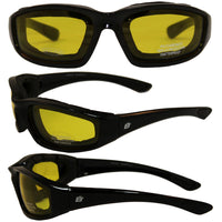 Birdz Oriole Motorcycle Glasses With Yellow Shatterproof Anti-fog Polycarbonate Lenses And Wind Blocking Foam