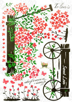 Flowers And Pushcart - Wall Decals Stickers Appliques Home Dcor