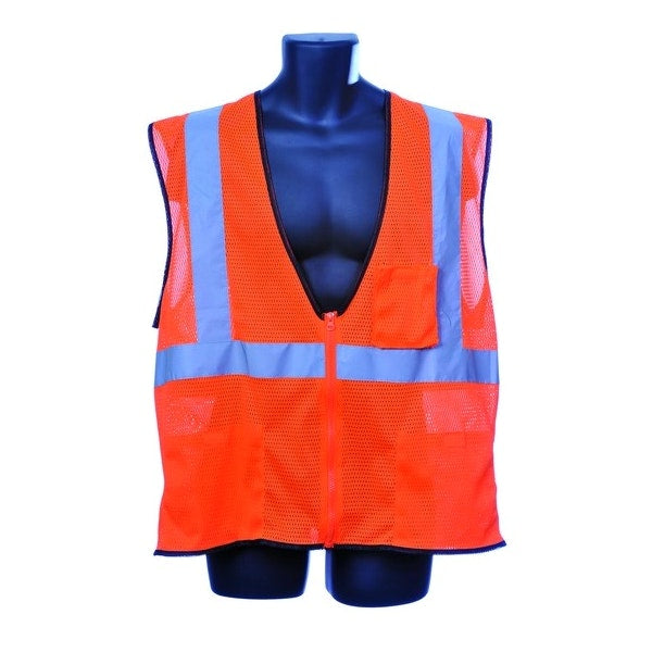 Class Ii Zipper Front Orange Safety Vest Extra Large Case Pack 30