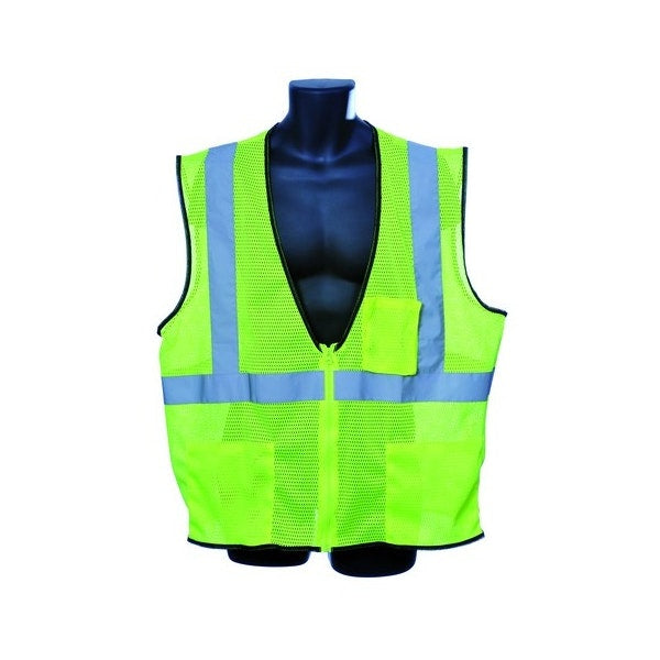 Class Ii Zipper Front Green Safety Vest 3xl Case Pack 30