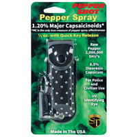Pepper Shot 1.2% Mc 1-2 Oz Rhinestone Leatherette Holster And Quick Release Keychain Black