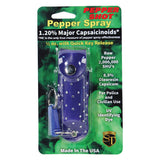 Pepper Shot 1.2% Mc 1-2 Oz Rhinestone Leatherette Holster And Quick Release Keychain Blue