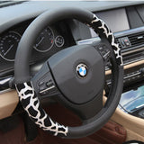 High Quality Luxury Design Silver Leopard Steering Wheel Cover (38cm)