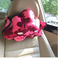 Cute Cartoon Cloud Series [red Camouflage Pattern] Car Headrest-car Neck Pillow