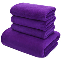 4 Pieces Care Towels Thick Microfiber Cleaning Cloths Suit, Purple