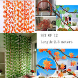 12 Pack Artificial Ivy Leaf Plants Vine Hanging Garland Fake Foliage Wall Decor