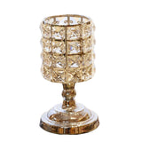 Gold Crystal Cylinder Candle Holders For  Candlelight Dinner Wedding Decoration