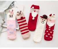 2 Pairs Of Warm Sleeping Socks Cute Floor Socks Christmas New Year Socks[l]