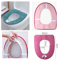 3 Pcs Winter Warm Toilet Mat Thick Toilet Mat Toilet Seat Cushion [a]