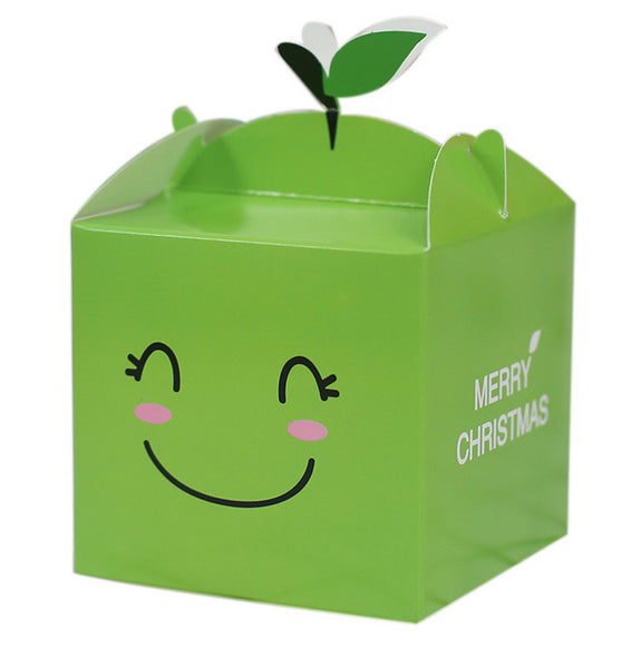 10 Decorative Creative Christmas Gift Boxes, Green Smiley Face