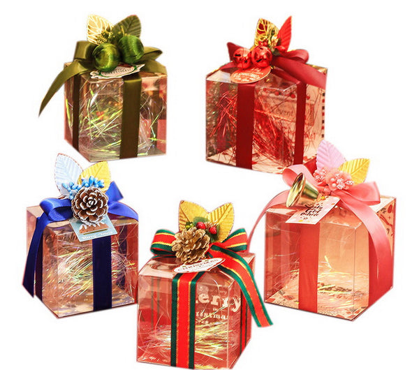 20 Decorative Christmas Transparent Gift Boxes, Mix And Match B