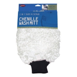 Wash Mitt, 2 In 1, Deep Pile Chenille With Scrub Netting, Elastic Cuff, Carded